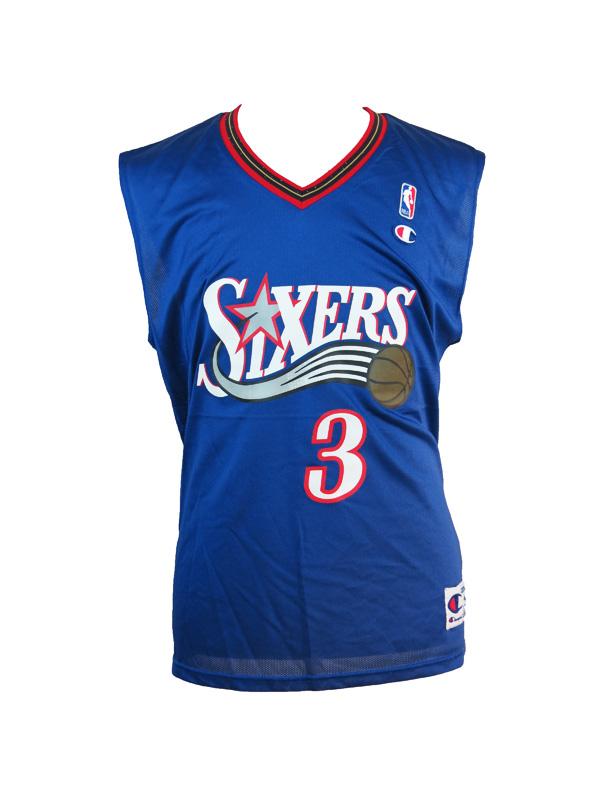Darmowa dostawa najtańszy gorący produkt Allen Iverson 76ers Blue Champion Jersey