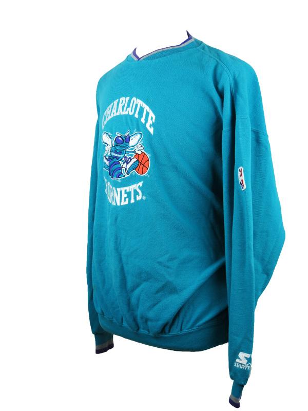 meet 65219 91a84 Vintage Charlotte Hornets Starter Blue Sweater