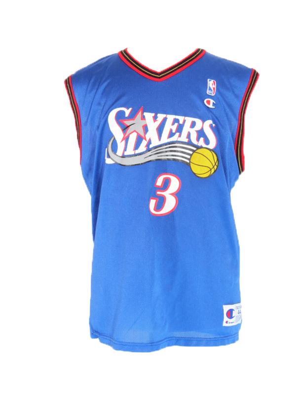 buy online 195d2 bbe99 Vintage Allen Iverson Blue Champion Jersey Large