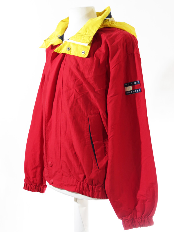 Vintage Tommy Hilfiger Red Yellow Windbreaker Jacket 5