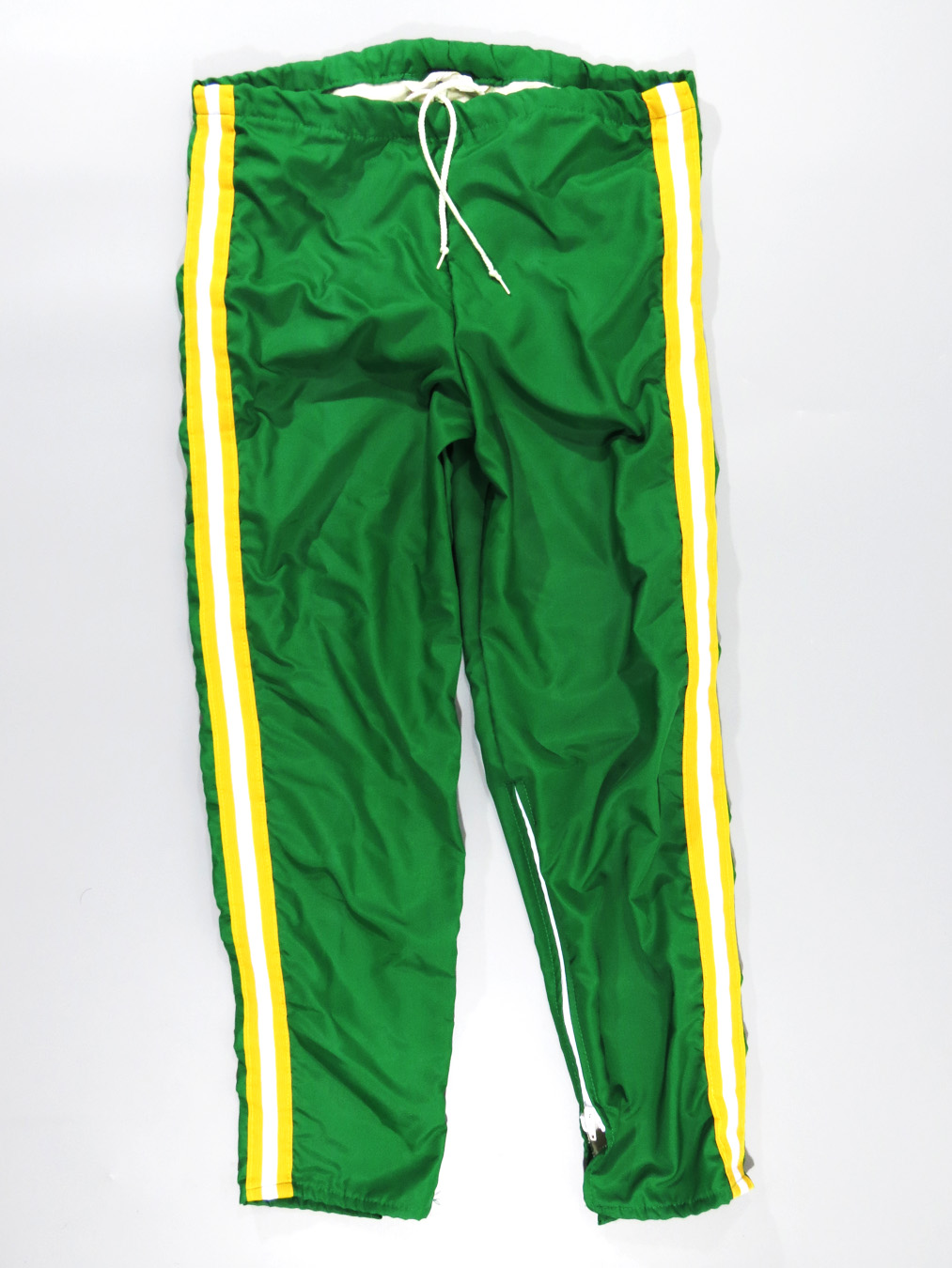 80s Green Yellow Striped Track Pants 5 Star Vintage