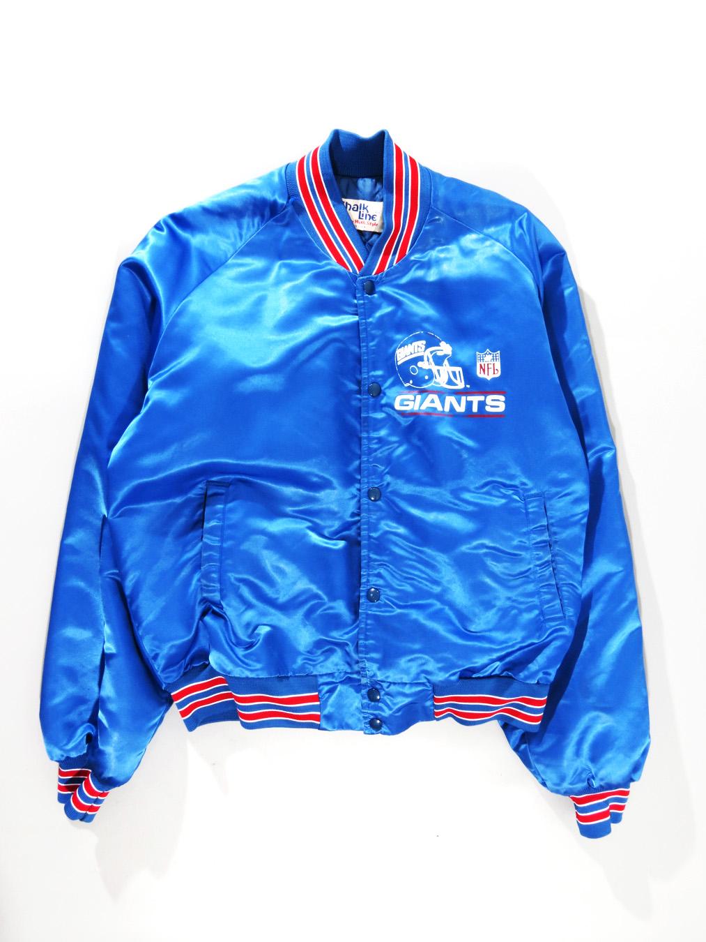 detailed look 603db 7b066 New York Giants Chalkline Blue Satin Button Up Jacket