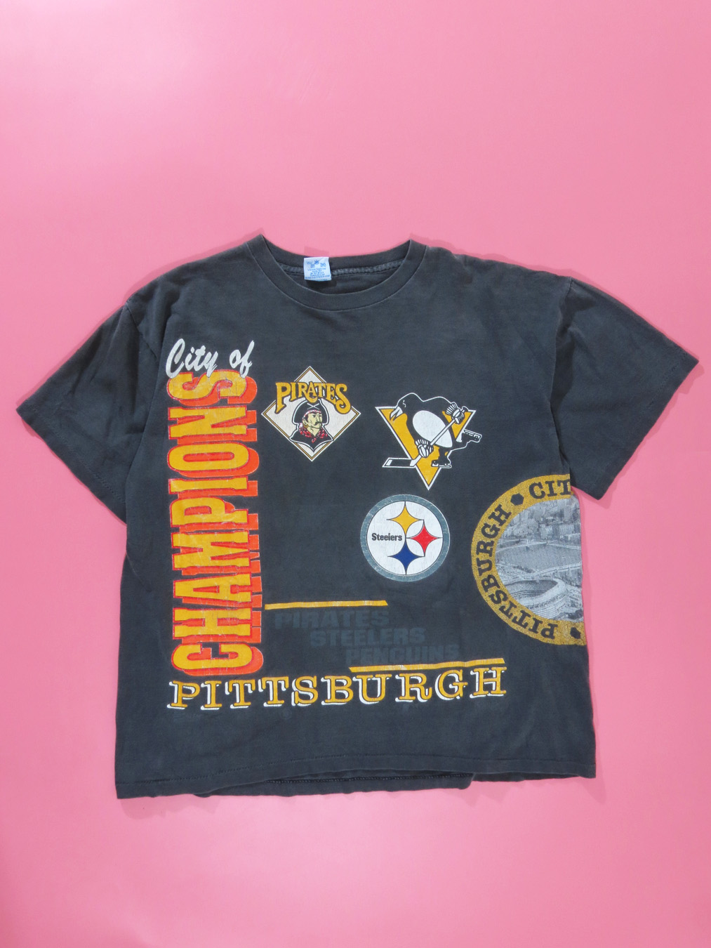 on sale efd69 95b97 1995 City Of Champions Pittsburgh Pirates Steelers Penguins Shirt