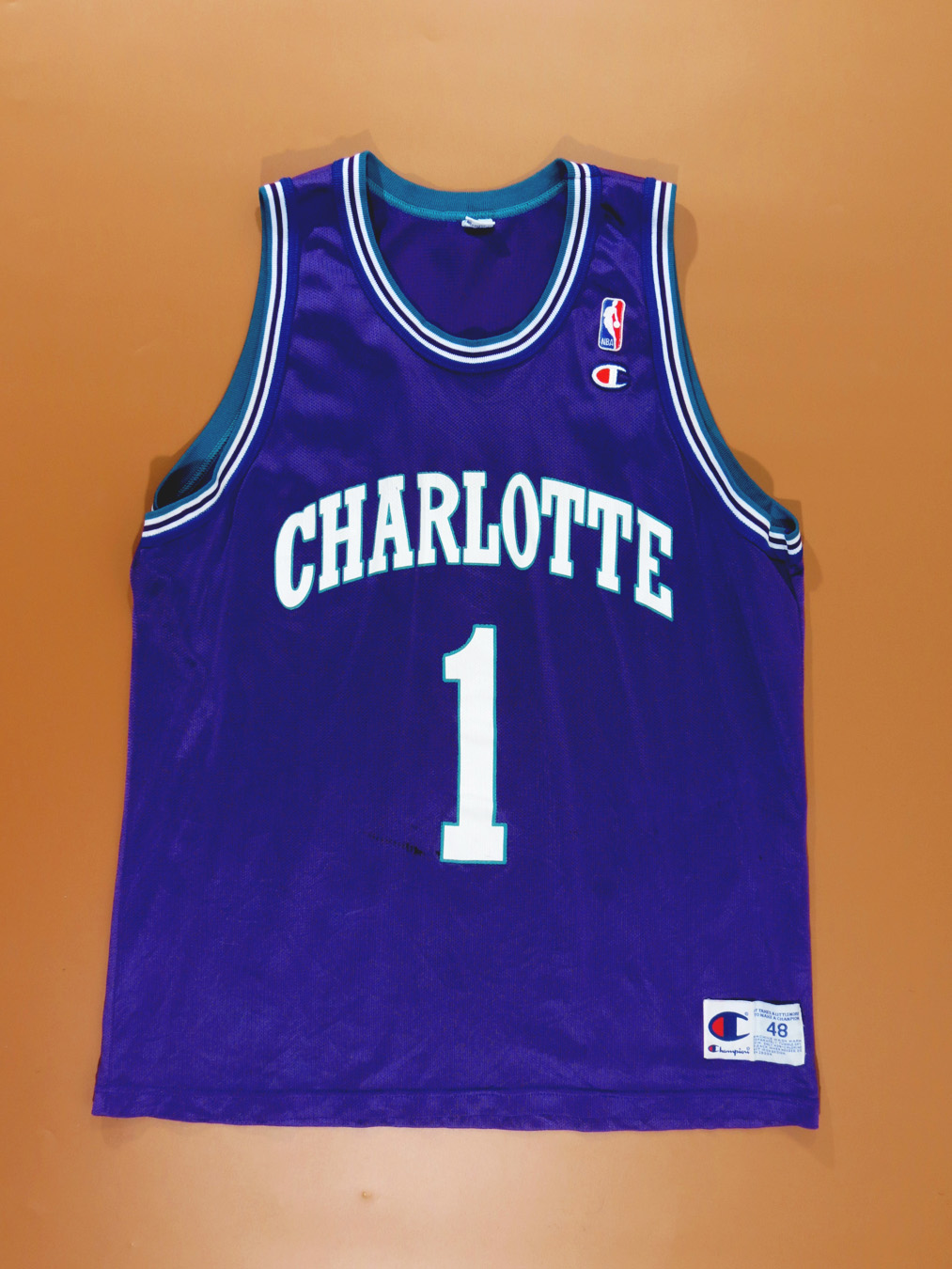 sports shoes 2dc13 8c4e4 90s Charlotte Hornets Champion Muggsy Bogues Jersey