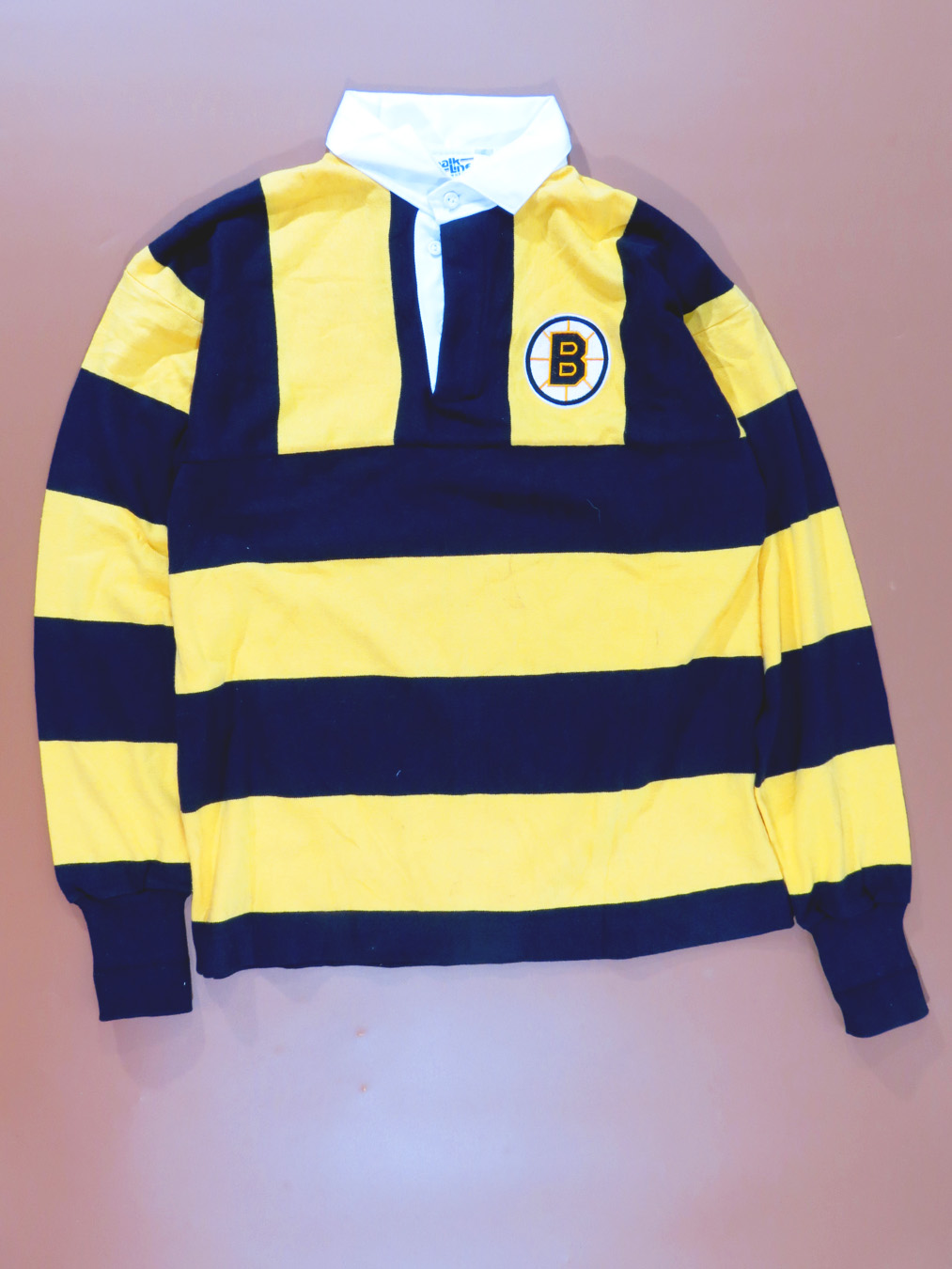 newest ddc9c 3cc4a NWT 90s Boston Bruins Yellow Striped Rugby Long Sleeve