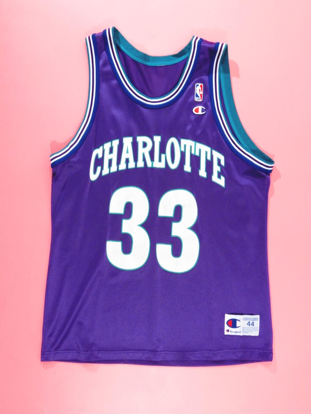 premium selection eade0 bef3e 90s Alonzo Mourning Charlotte Hornets Purple Champion Jersey