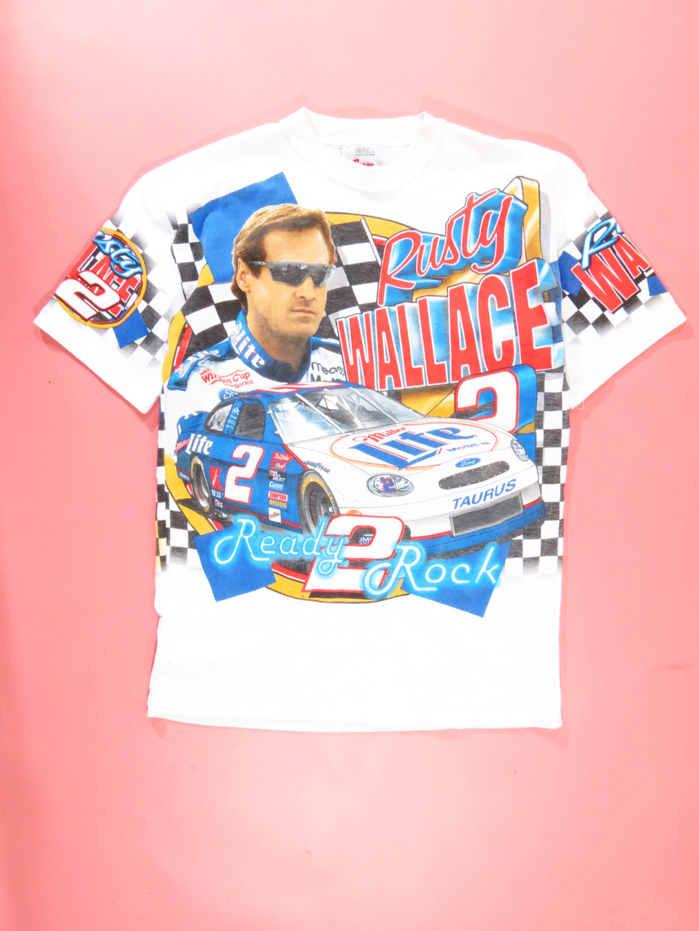 fe6a3698af5735 Rusty Wallace NASCAR Print  Ready Rock  T-Shirt - 5 Star Vintage