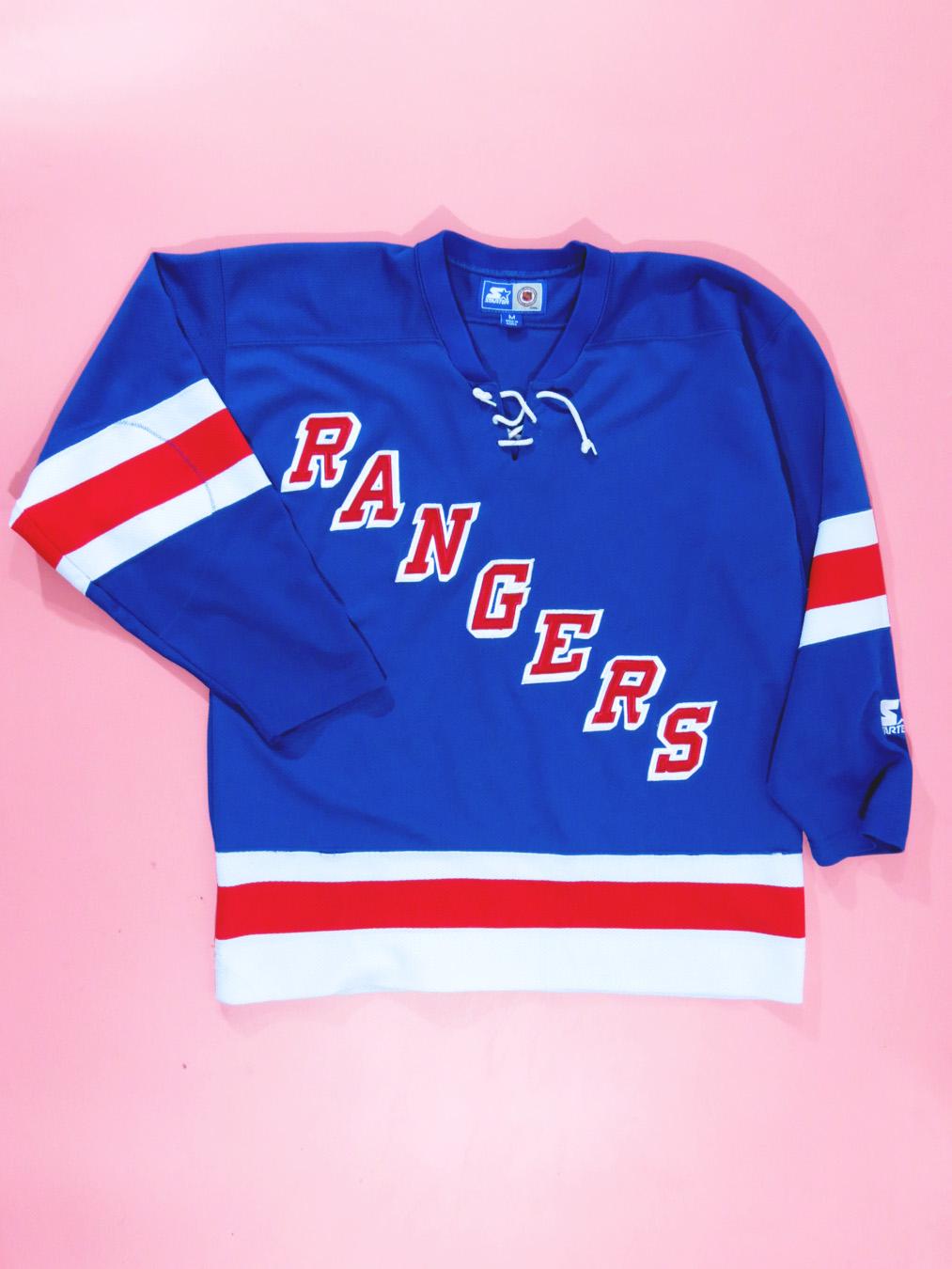 meet 95a48 51ae0 90s New York Rangers Blue Starter Jersey L